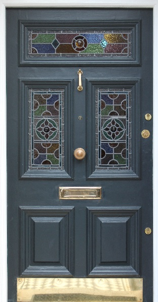 A Victorian Front Door With Leaded Light