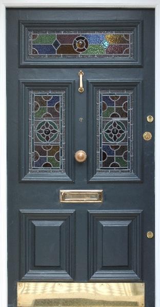 Front doors with leaded light voysey jones for Victorian doors