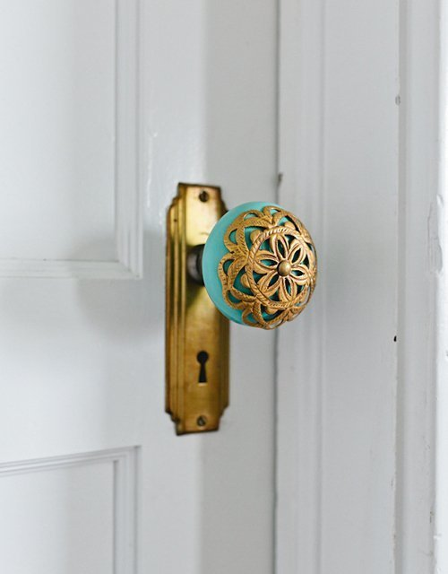 A solid brass mortice knob